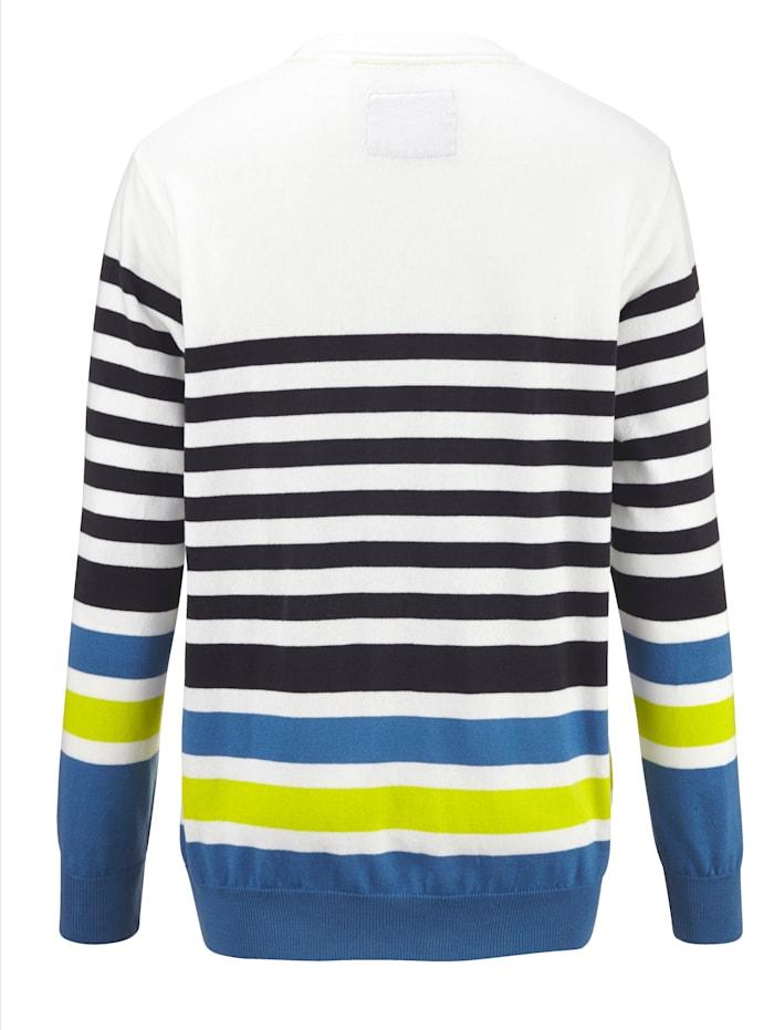 Pullover mit garngefärbtem Streifendessin rundum