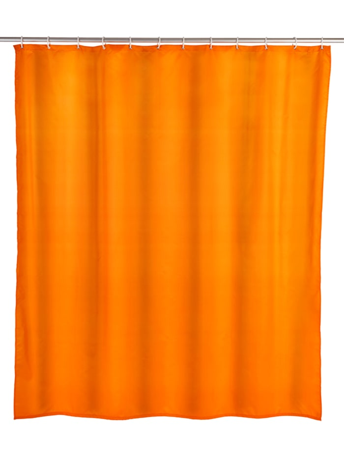 Wenko Anti-Schimmel Duschvorhang Uni Orange, Textil (Polyester), 180 x 200 cm, waschbar, Orange