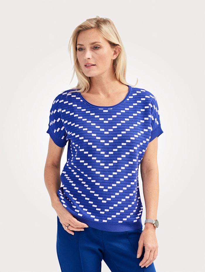 MONA Pullover mit grafischem Strickmuster, Royalblau/Weiß