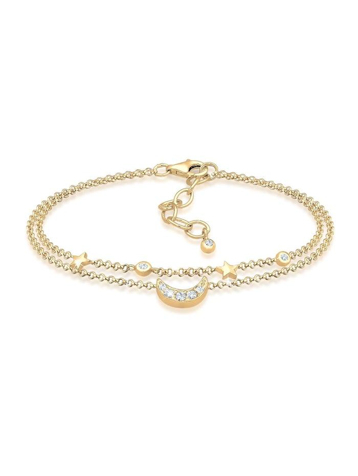 Elli Armband Halbmond Sterne Galaxy Kristalle Silber, Gold