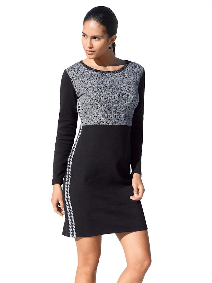 Betty Barclay Kleid mit Glitzergarn am Ausschnitt, Schwarz/Creme-Weiß