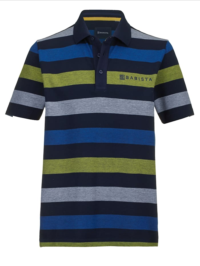 BABISTA Poloshirt in feiner Melangé-Optik, Marineblau/Gelb