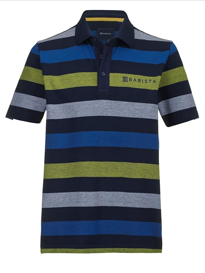 BABISTA Poloshirt in een fijne gemêleerde look, Marine/Geel