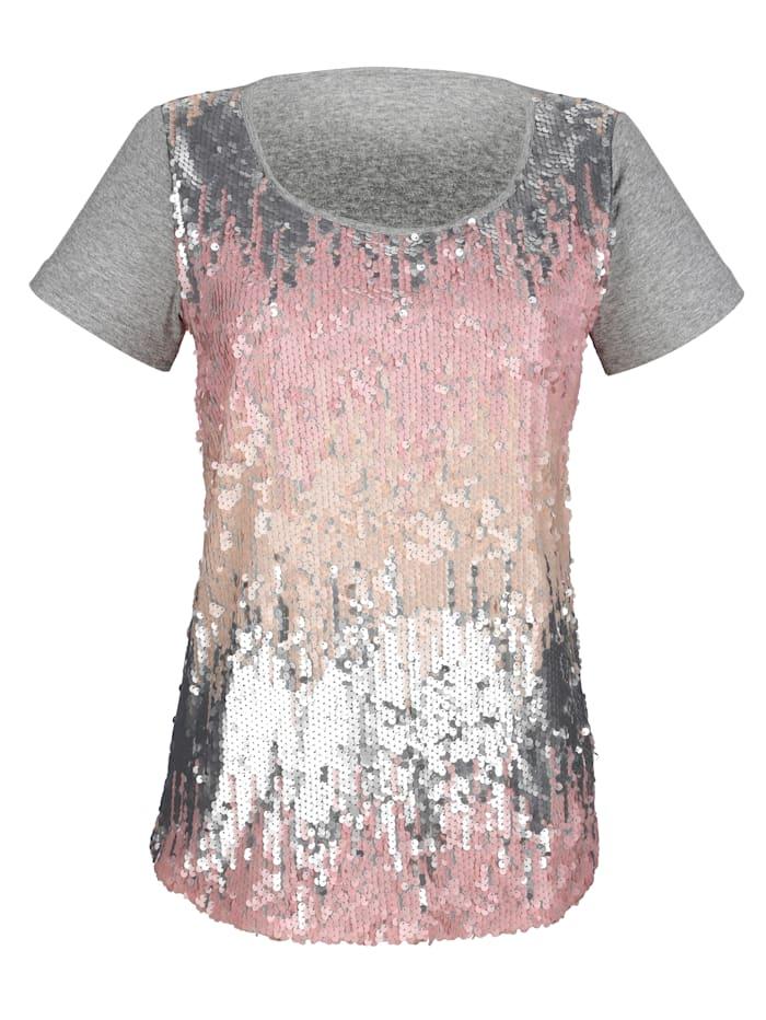 AMY VERMONT Shirt mit Pailletten, Grau/Rosé