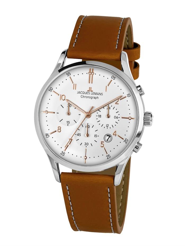 Jacques Lemans Herren-Uhr Chronograph Serie: Retro Classic, Kollektion: Retro Classic: 1- 2068P, Hellbraun
