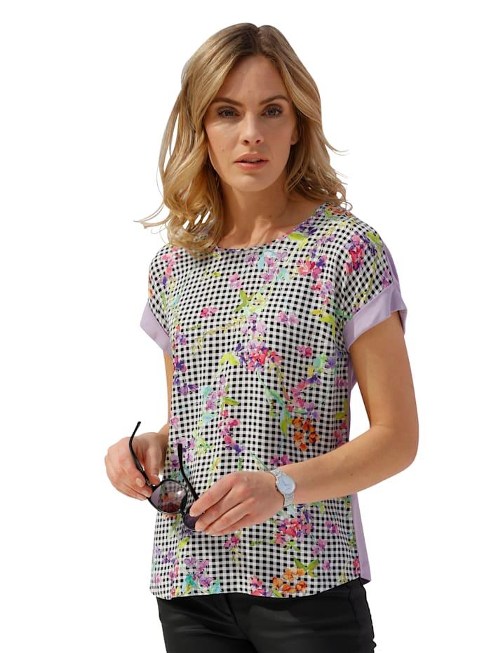 AMY VERMONT Shirt mit bedrucktem Vorderteil, Weiß/Schwarz/Flieder/Grün