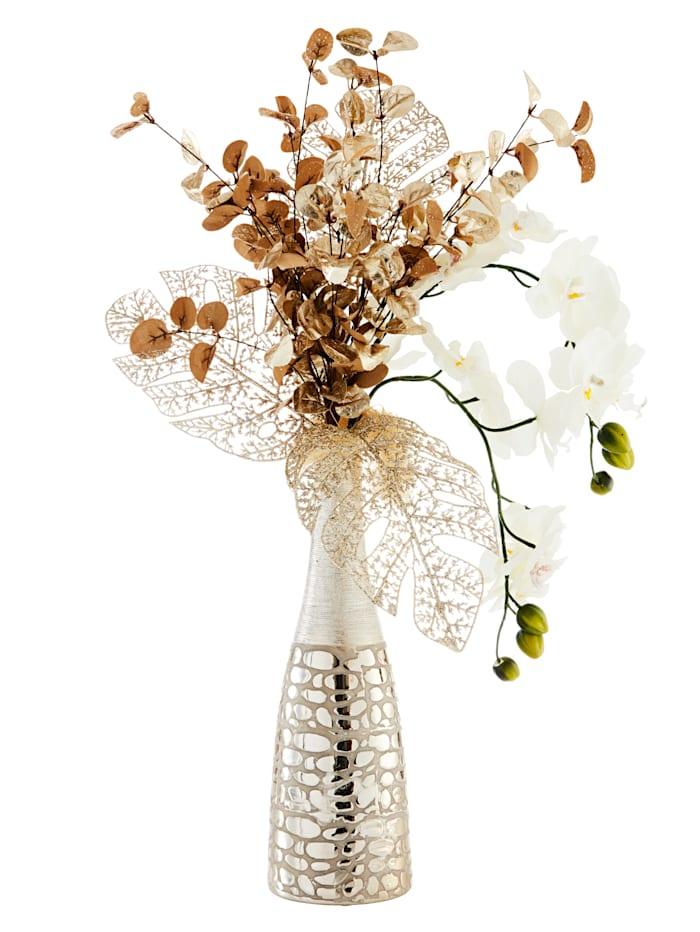 Orkidéer i vase, hvit