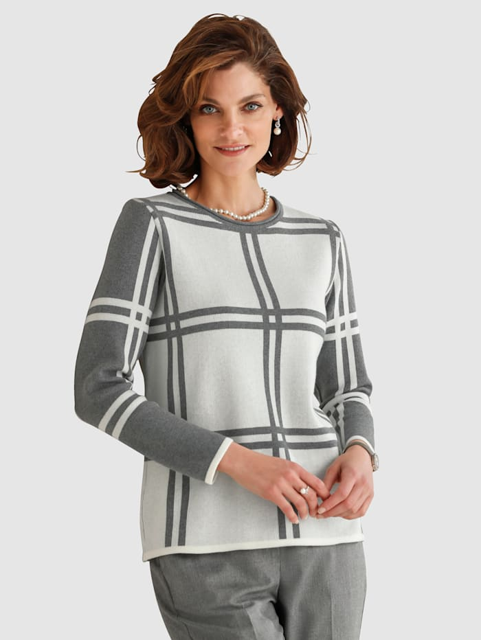 MONA Jumper in a chic check pattern, Grey/Ivory