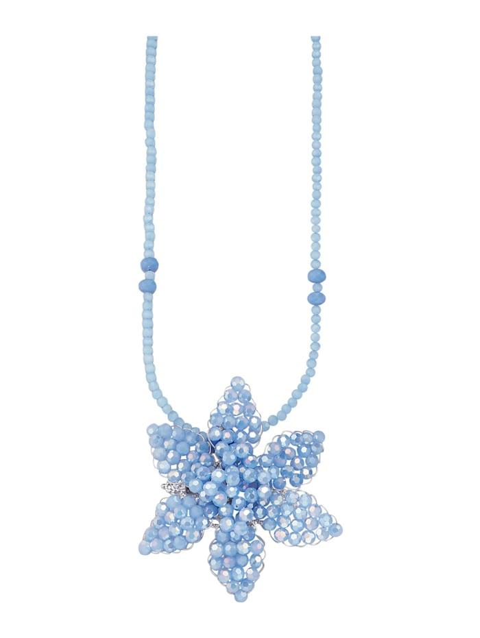 Blüten-Anhänger mit Glassteinen und Kette, Blau