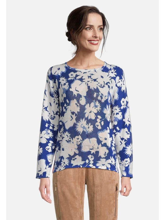 Betty Barclay Grobstrick-Pullover mit Blumenprint, Blau