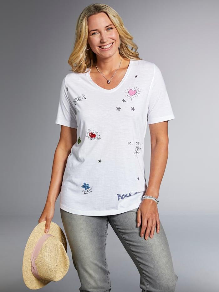 Shirt mit süßen Druck- und Paillettenmotiven