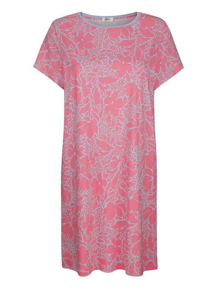 MONA Nachthemd mit kontrastfarbenem Halsausschnitt, Pink/Hellblau