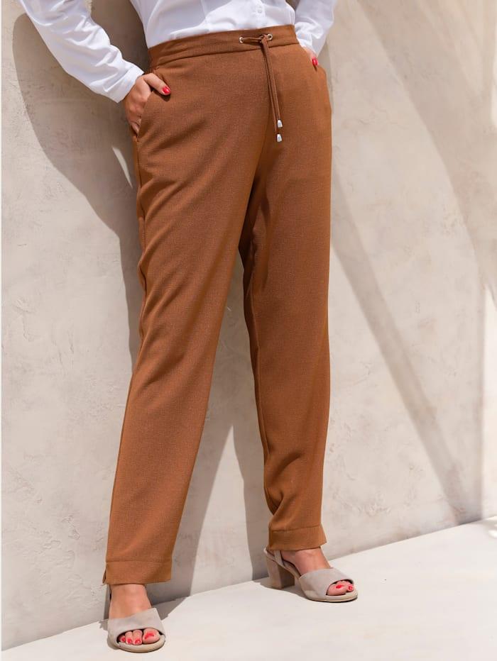MIAMODA Pantalon en crêpe fin, Cognac