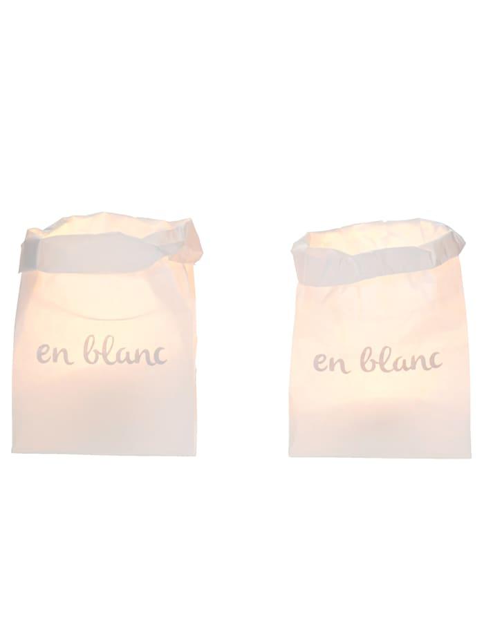 IMPRESSIONEN Papiertüten- Set, 2tlg., weiß/silberfarben