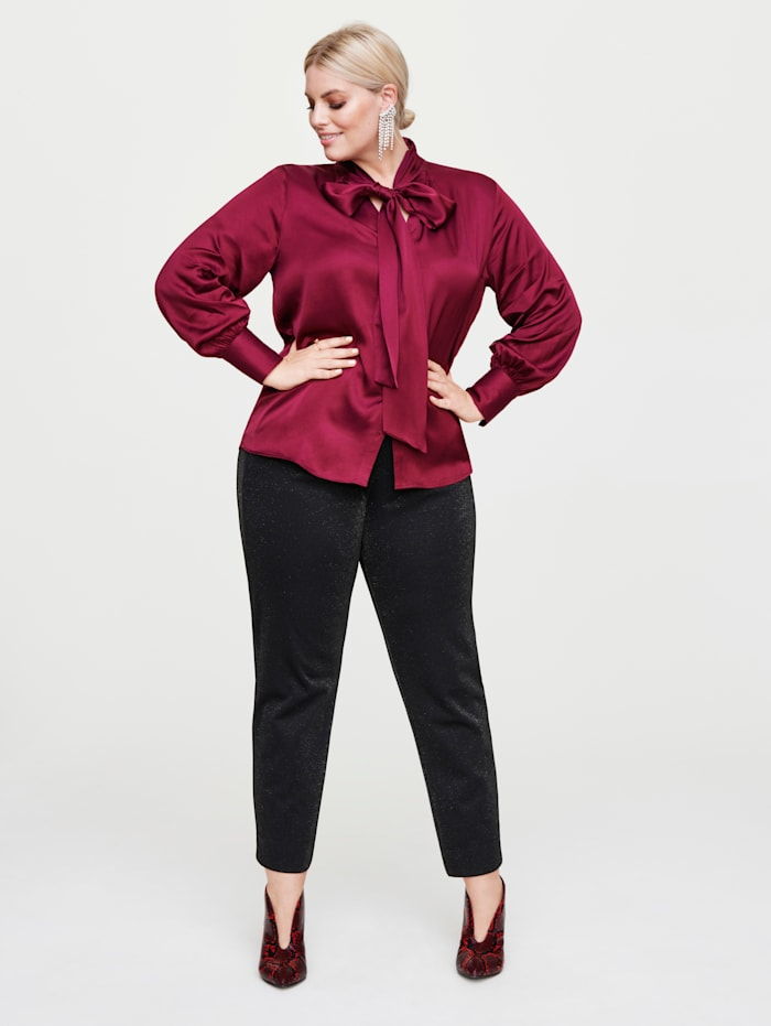 Rock Your Curves by Angelina K Bluse mit Schluppe, Bordeaux