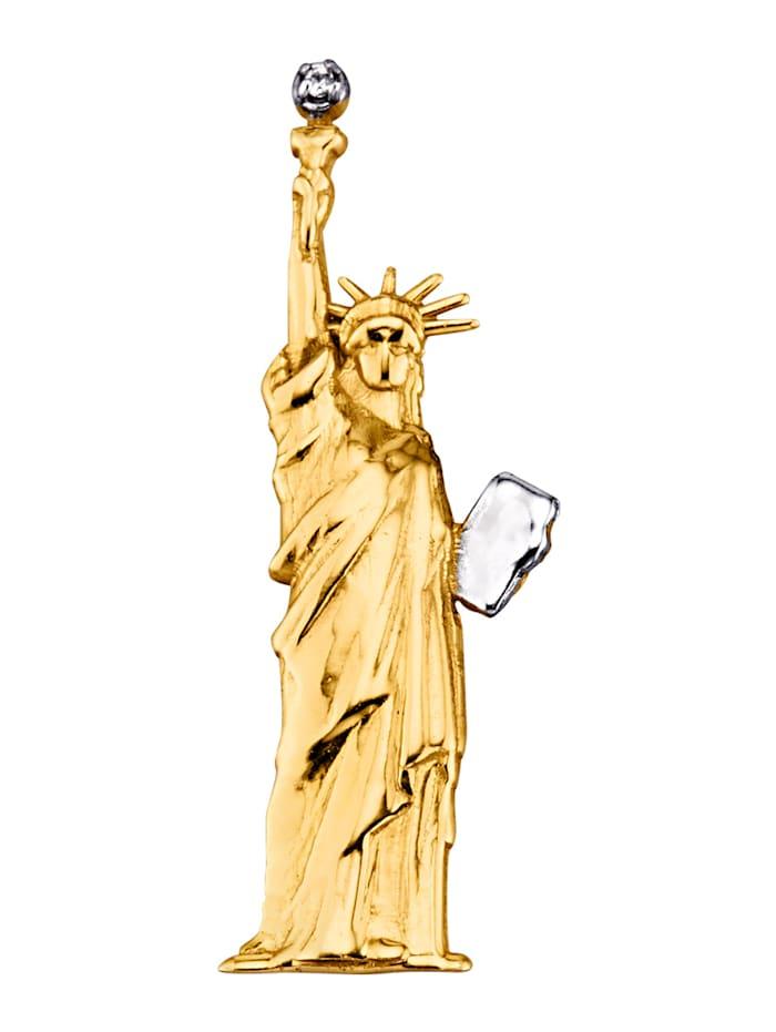 Hanger Vrijheidsbeeld van 9 kt., Geelgoudkleur