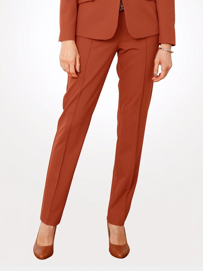 MONA Pantalon à plis surpiqués, Brique