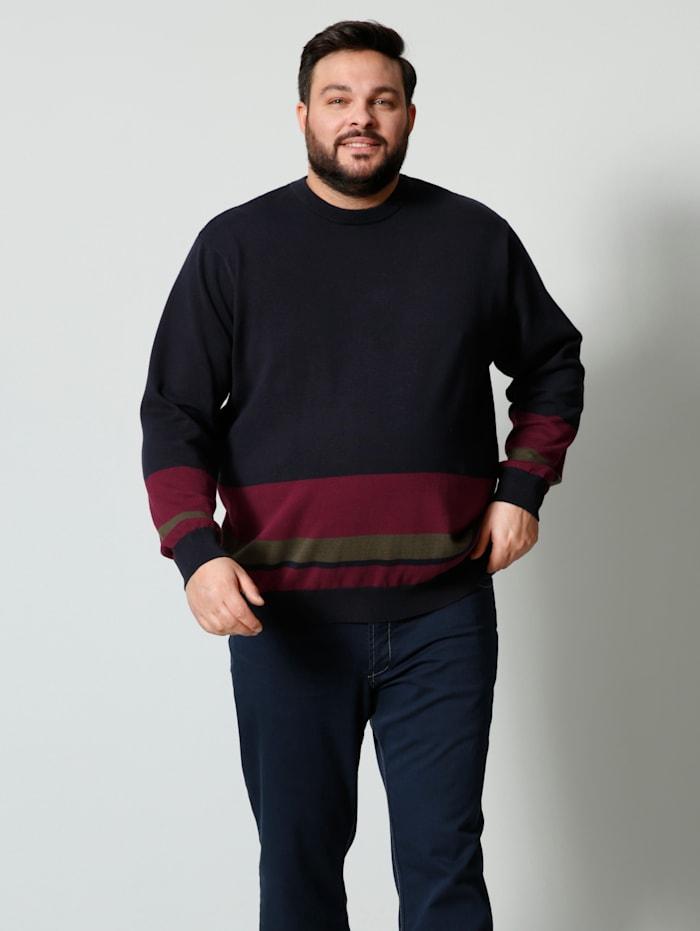 Men Plus Pullover mit Streifendesign, Marineblau/Rot/Oliv