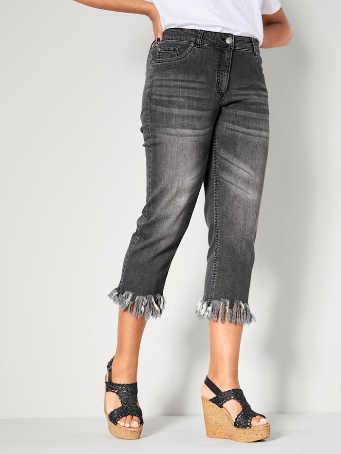 Angel of Style 7/8 Jeans mit offenen Kanten, Anthrazit
