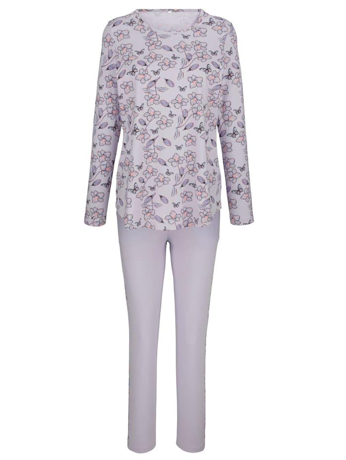 Blue Moon Schlafanzug mit floralem Einsatz an der Hose, Flieder/Pflaume/Koralle