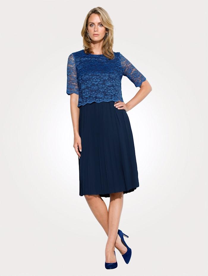 MONA Kleid mit Spitzenoberteil, Blau