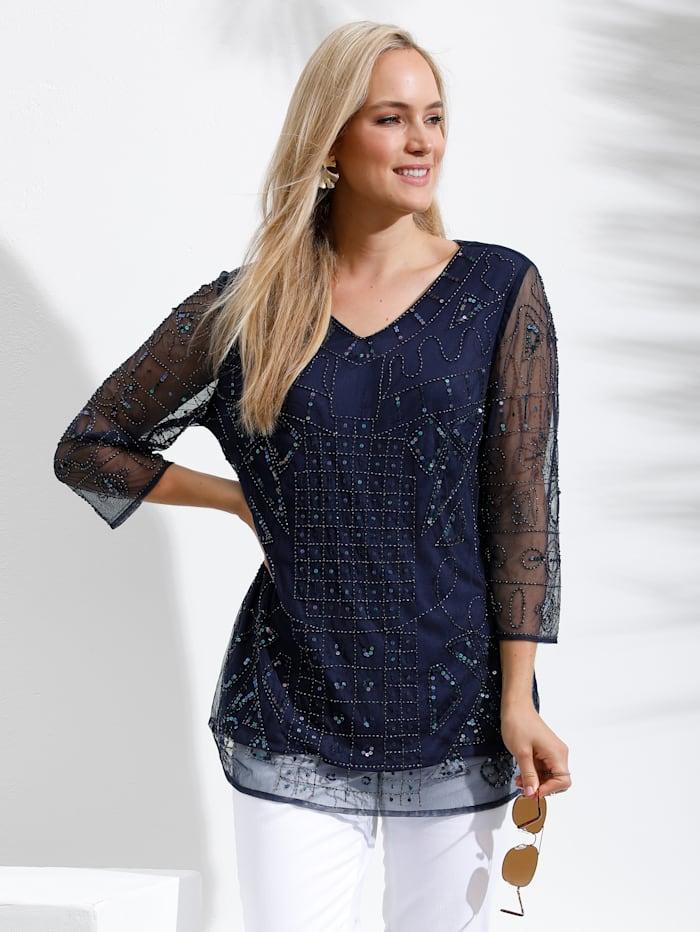 MIAMODA Shirt aufwändig mit Pailletten und Perlen bestickt, Marineblau