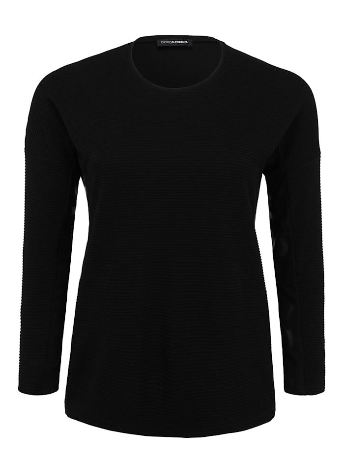 Doris Streich Langarmshirt mit Prints Ton-in-Ton-Nähte, schwarz