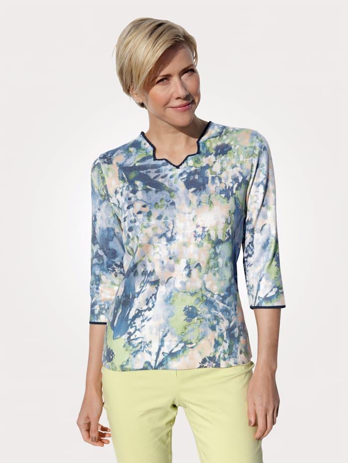 DiStrick Pullover mit Batik-Druck, Blau/Grün