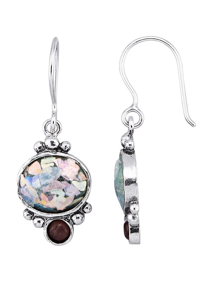 Roman Glass Oorbellen van echt zilver, Multicolor