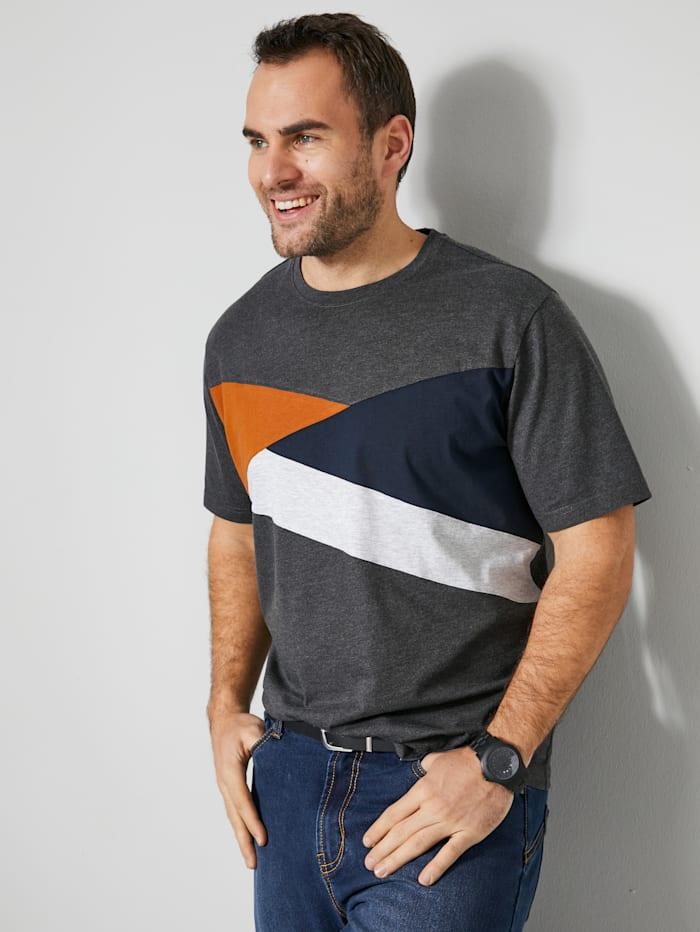 Men Plus T-Shirt im Color Blocking Design, Anthrazit/Marineblau