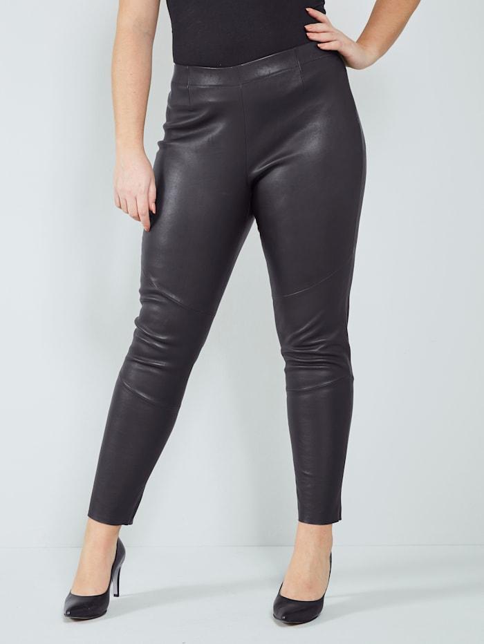 Sara Lindholm Leren legging met heerlijk zachte touch, Zwart