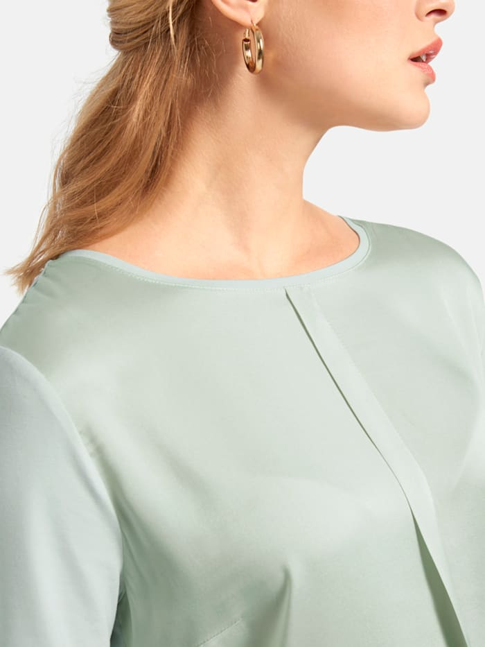 T-Shirt mit Vorderteil aus Seide und Rundhalsausschnitt