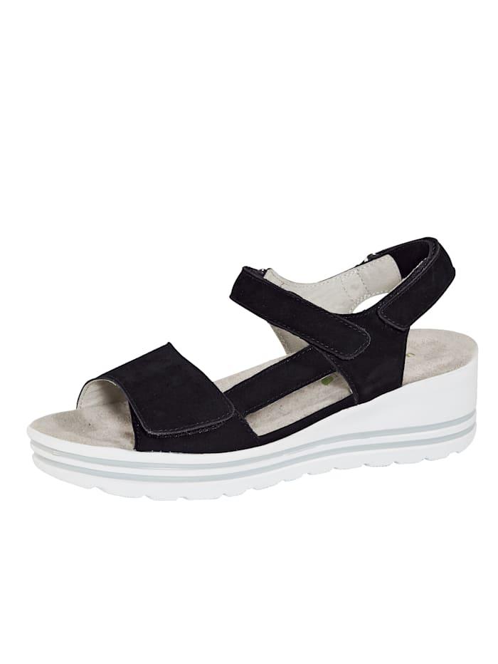 Waldläufer Kiilakorolliset sandaalit, Musta