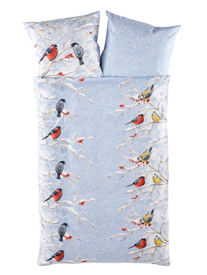 Webschatz 2-delige set bedlinnen Wintervogels, ijsblauw