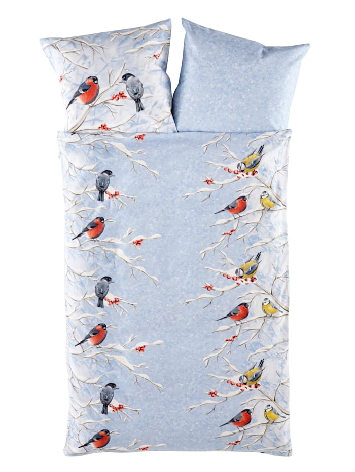 Webschatz Flanell sengesett -Vinterfugler- 2 deler, isblå