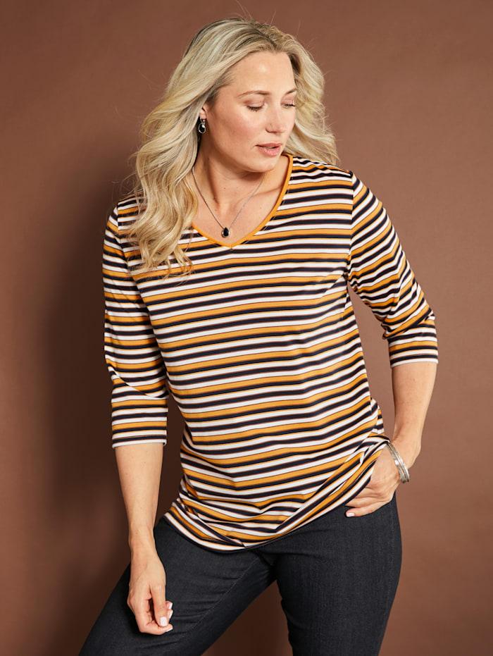 MIAMODA Shirt mit aktuellem Streifendruck, Gelb/Weiß/Schwarz