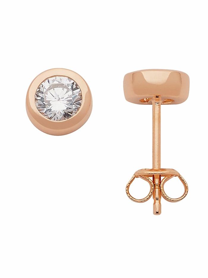 1001 Diamonds Damen Silberschmuck 925 Silber Ohrringe / Ohrstecker mit Zirkonia Ø 7 mm, rose