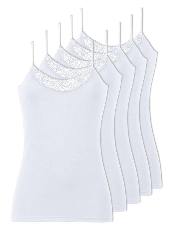 Naturana 5er Pack Damen Unterhemden, Weiss