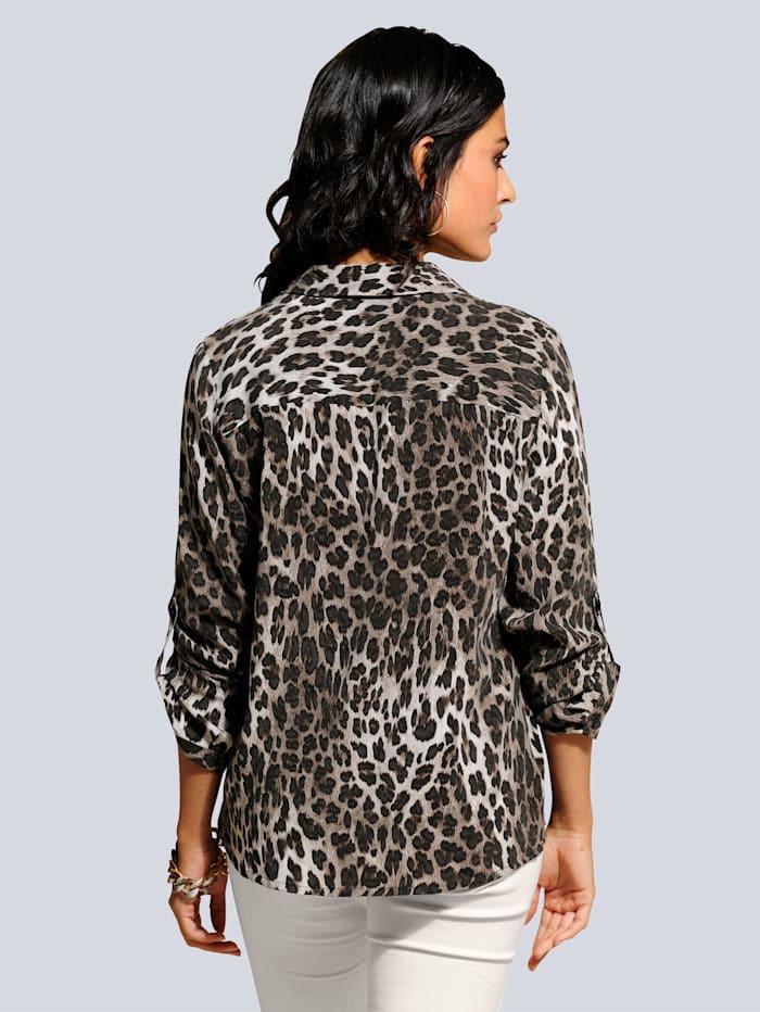 Bluse im ausdrucksstarken Leodessin