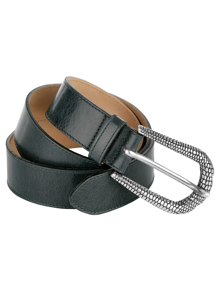 MONA Leather belt with embossed buckle, Petrol