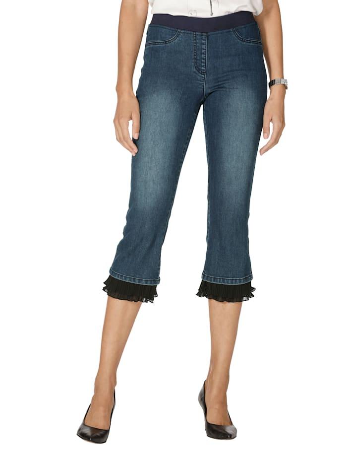 Jeans mit Plissee am Saumabschluss