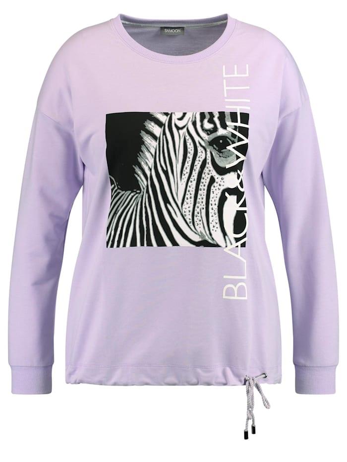 Samoon Sweatshirt mit Zebra-Print Oeko-Tex Standard 100, Pastel Lilac gemustert