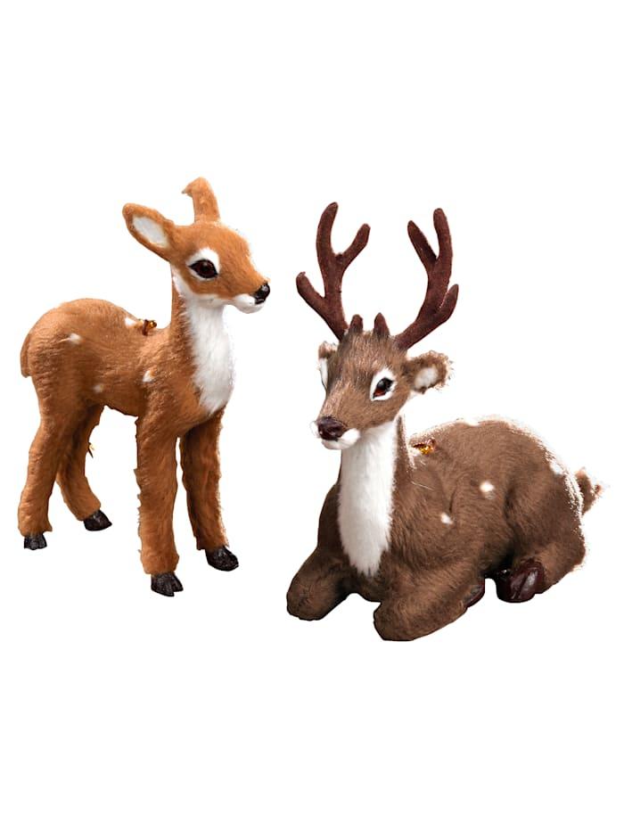 Lot de 2 cerfs décoratifs, marron
