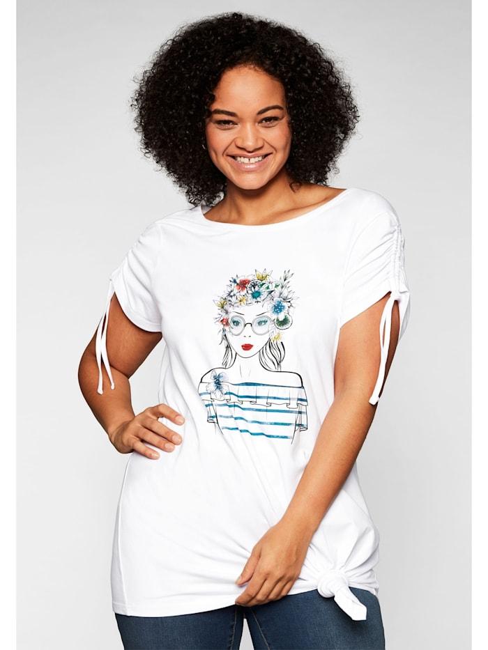 Sheego Sheego Shirt mit Frontdruck und Glitzersteinen, weiß