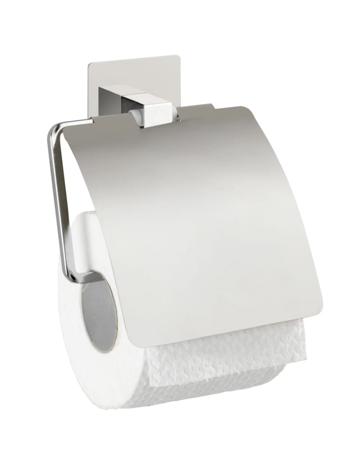 Wenko Turbo-Loc® Edelstahl Toilettenpapierhalter mit Deckel Quadro, rostfrei, Befestigen ohne bohren, Platte, Rollenhalter, Deckel: Chrom, Steg: Chrom