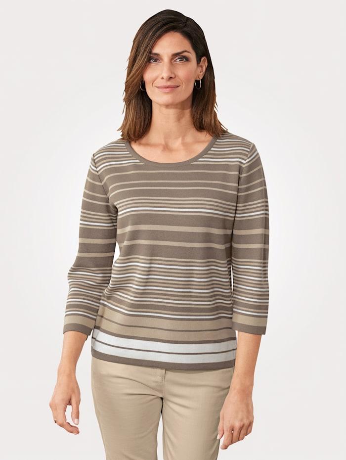 MONA Pullover mit Struktur-Ringel, Taupe/Ecru/Sand