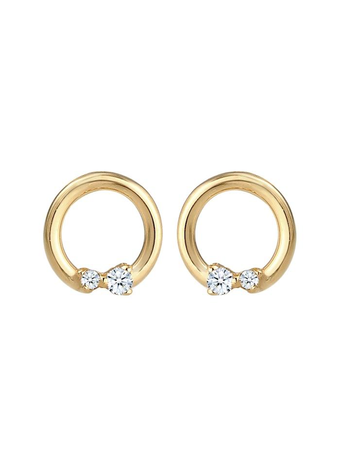 Ohrringe Kreis Geo Diamanten (0.04 Ct.) Edel 585Er Gelbgold