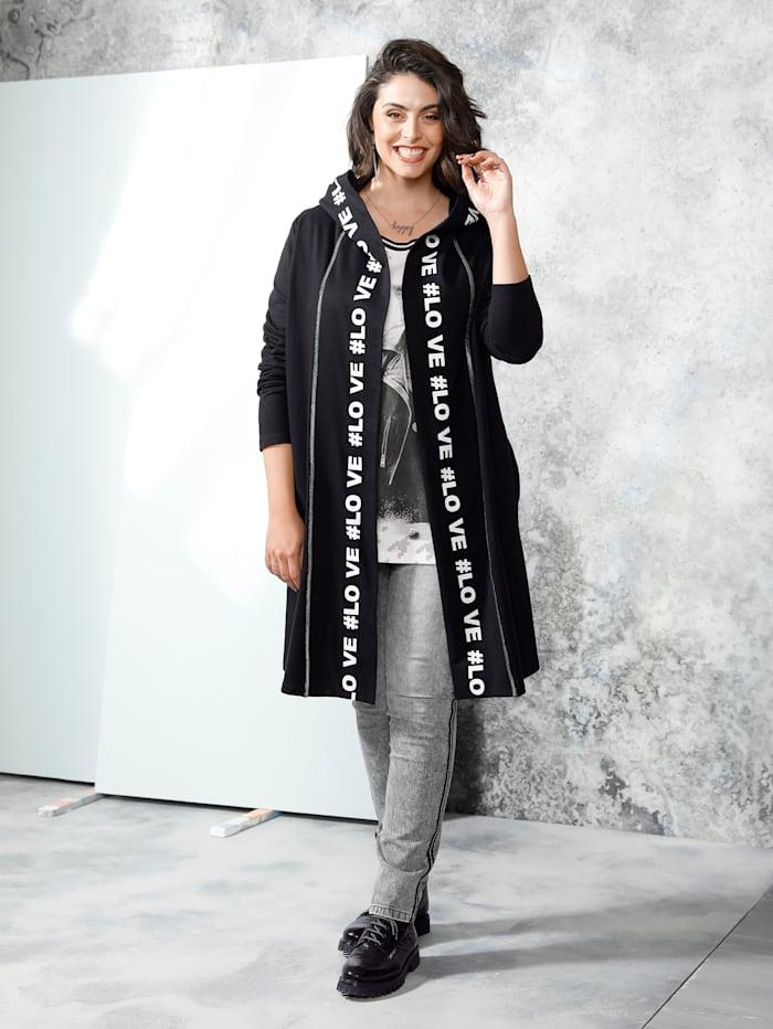MIAMODA Sweat bunda s kapucí, Černá