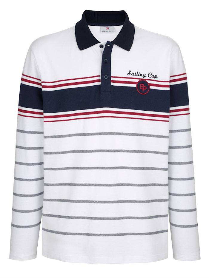 Boston Park Sweat-shirt à rayures, Blanc/Marine