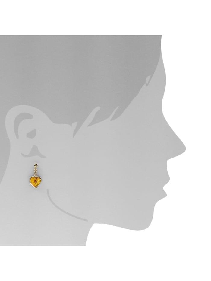 Ohrhänger - Herz - Gold 333/000 - Bernstein